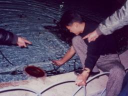 魚を手づかみする井上雄一朗