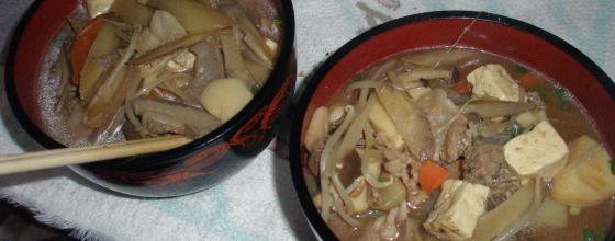 イノシシ鍋を食べる
