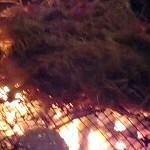 網で焼きそばを焼く!の巻